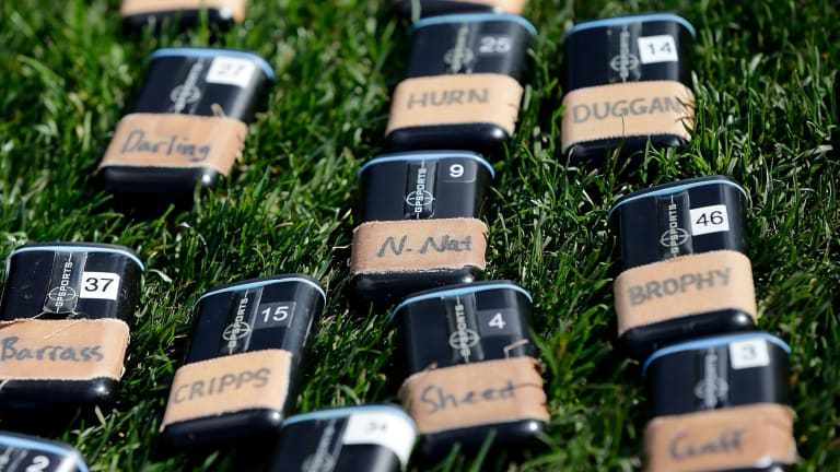 GPS trackers for West Coast players during a match last year.