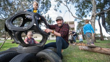 Marcus Veerman, CEO of Playground Ideas, in a Brunswick East playground based on his DIY designs.