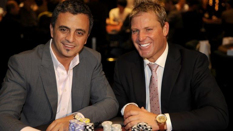 Shane Warne and Joe Hachem at a charity poker tournament.
