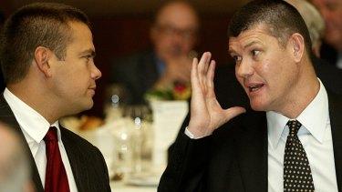 Network Ten shareholders and loan guarantors Lachlan Murdoch (left) and James Packer.