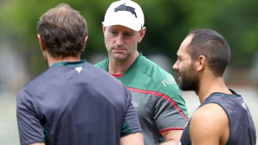 """Not-so-ancient history: South Sydney coach Michael Maguire tried to brush off the Crowe-Keary bust-up as """"in the past""""."""