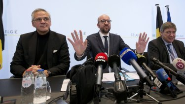 Belgian Prime Minister Charles Michel, addresses a media conference after raising the security level to its highest degree on Saturday.