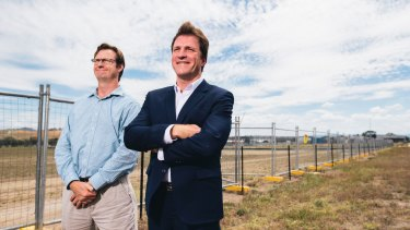Foy Group technical director Bevan Dooley and managing director Stuart Clark at the site of the proposed pastics-to-fuel factory in Hume.