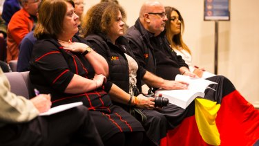Representatives from the local Indigenous community at the public forum to discuss the decision by Darebin Council to cease Australia Day celebrations on January 26.