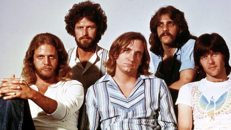 Checking into the Hotel California:  From left, Don Felder, Don Henley, Joe Walsh, Glenn Frey, Randy Meisner in a 1970s studio shot.