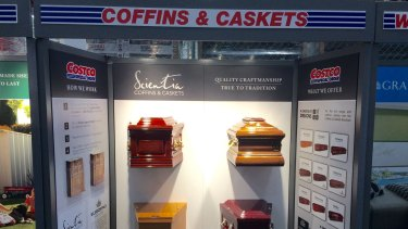 Coffins and caskets have gone on sale in one of Costco's Melbourne stores.