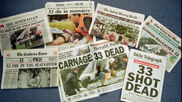 The front pages of Australian newspapers on April 29, 1996, the day after the Port Arthur massacre.