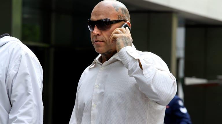 Former Bandidos bikie enforcer Toby Mitchell outside court in 2013.