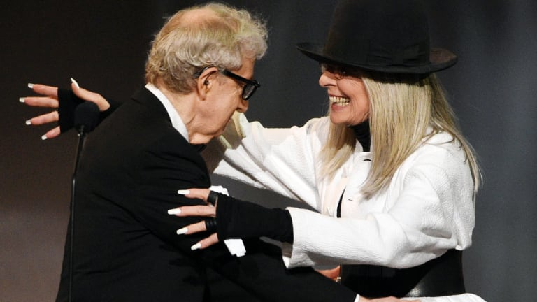 Woody Allen greets actress Diane Keaton onstage to give her the 45th AFI Life Achievement Award during a gala tribute to her at the Dolby Theatre on June 2017, in Los Angeles.