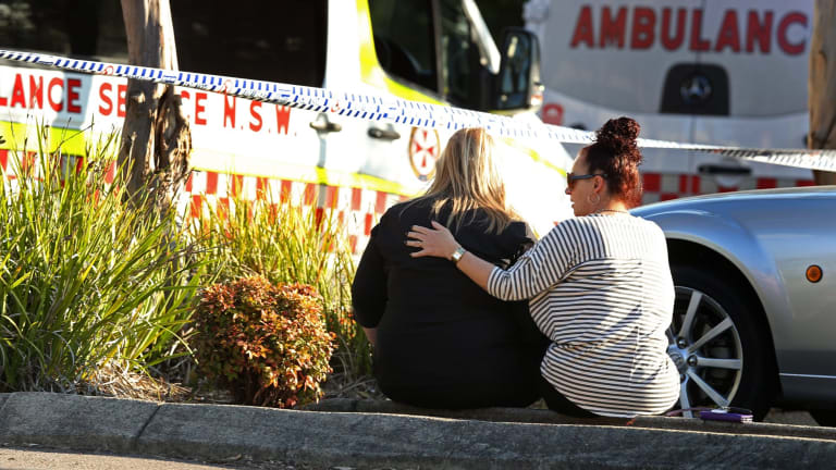 The aftermath of a shooting outside Warners Bay Post Office on Wednesday afternoon.