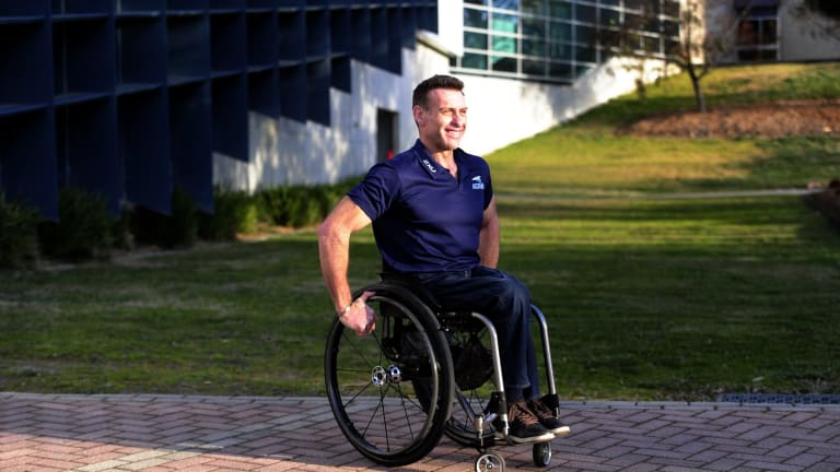Richard Nicholson, of Melba in Canberra, winner of the City2Surf in Sydney with a time of 41 minutes and 46 seconds in the wheelchair event.