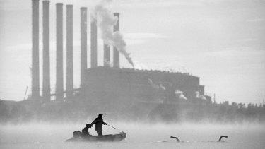 Swimmers in the cooling pond of the Hazelwood brown coal power plant.
