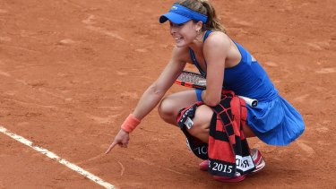 Cornet makes her point to the referee.