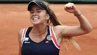 Elina Svitolina of Ukraine celebrates her victory.
