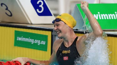 What a moment: Cate Campbell after the record-breaking swim.