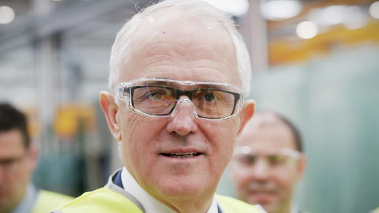 Prime Minister Malcolm Turnbull faced a barrage of questions about the NBN on a visit to the CSR Viridian glass facility in Canberra on Monday