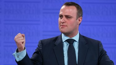 Human Rights Commissioner Tim Wilson addresses the National Press Club of Australia in Canberra on Wednesday 18 February 2015.