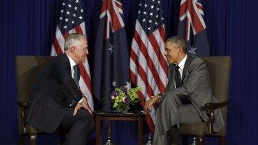 U.S. President Barack Obama, right, talks with Australia's Prime Minister Malcolm Turnbull during their meeting in Manila, November, 2015