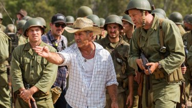 Razzie recipient: Mel Gibson directs actor Vince Vaughn on the set of <i>Hacksaw Ridge</i>.