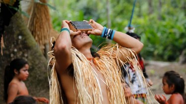 Lynette Wallworth and her team had to lug many kilos of high-tech equipment up the Amazon by canoe to make the virtual reality film Awavena.