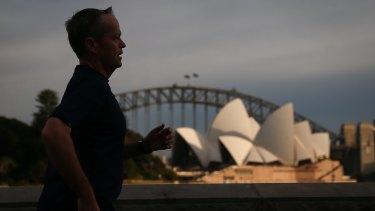Bill Shorten during a 9.2 kilometre morning run in Sydney.