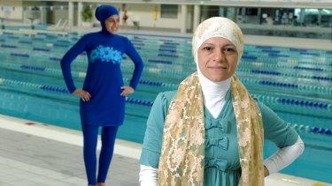 Fashion designer Aheda Zanetti and her burkini, modeled by Farrah Zbib.