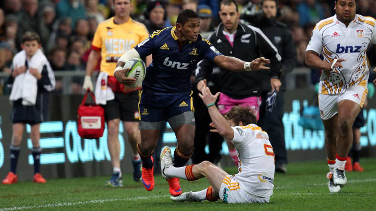 On the rampage: Waisake Naholo of the Highlanders.
