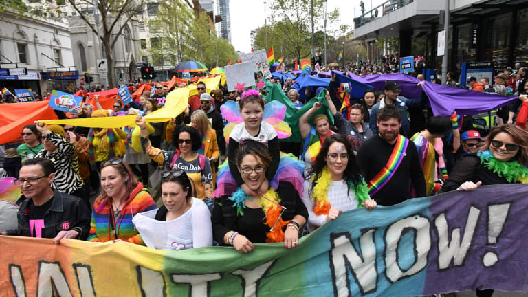 Same-sex marriage advocates call for a ''yes'' vote in Melbourne.