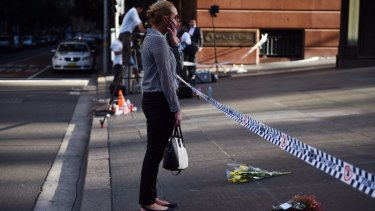 The scene at Martin Place on Tuesday morning.