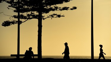 Exercising early at Maroubra Beach on Wednesday.