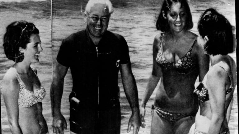 Harold Holt pictured with his daughters-in-law in 1967.