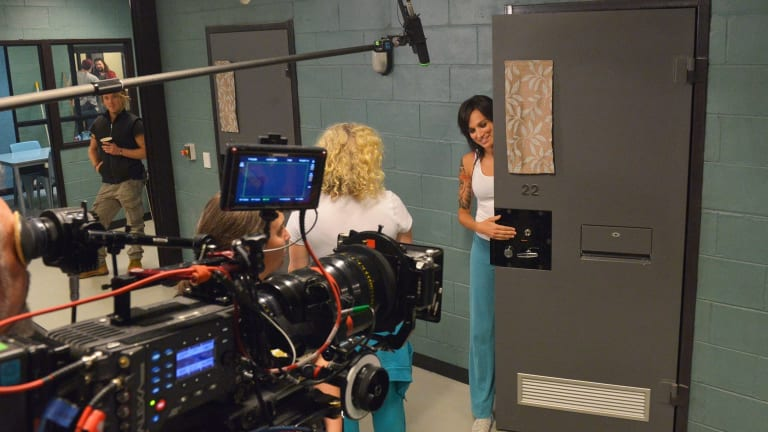 Nicole da Silva (right), who has found fame as Franky Doyle in the prison drama <i>Wentworth</I>, on set with fellow actor Celia Ireland, who plays Liz Birdsworth.