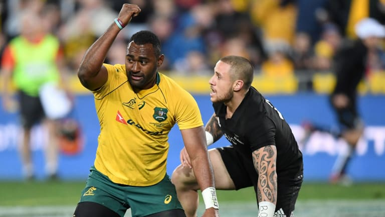 The end of the beginning? Tevita Kuridrani scores for the Wallabies in the opening Bledisloe Cup match.