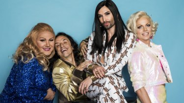 Conchita will perform with Trevor Ashley (blue), Paul Capsis (gold) and Courtney Act (pink).
