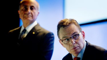 Andrew Mackenzie, chief executive of BHP Billiton, right, and Jacques 'Jac' Nasser, chairman, face having to battle one of the most formidable activist shareholders.