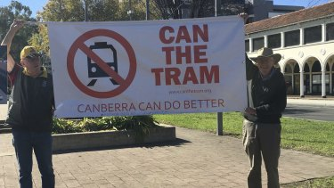 A protest against the tram.