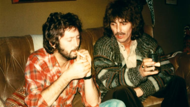 George Harrison and Eric Clapton in England in 1976.