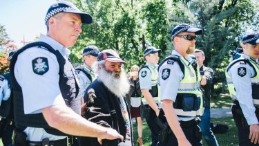 A Tent Embassy activist was arrested on Thursday.