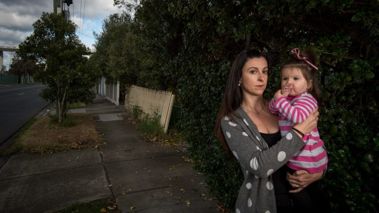 Meghan Lee and her 13-month-old daughter Emilia on Hyde Street.