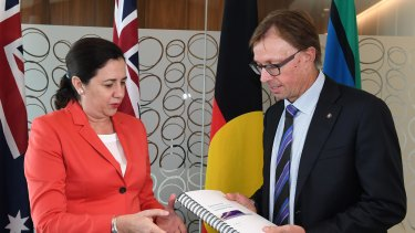 Premier Annastacia Palaszczuk and Commissioner Phillip Strachan have unveiled the report into Queensland Rail and its recommendations.