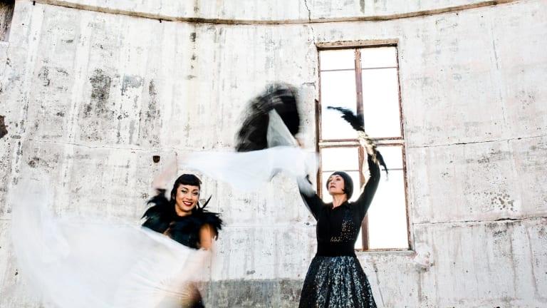 Dancers Rachel Reid (aka Jazida) and Liz Lea rehearse for 'The Galaxy Project'.