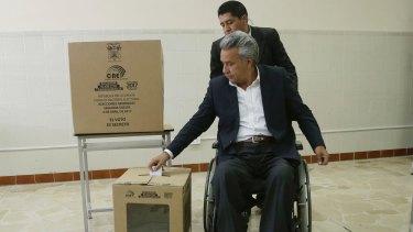 Elected: Lenin Moreno votes in the presidential run-off election in Quito, Ecuador, on Sunday.