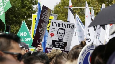 Union members showed their opposition to government plans for asset sales in Sydney.