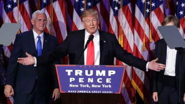 President-elect Donald Trump gives his acceptance speech on Wednesday.