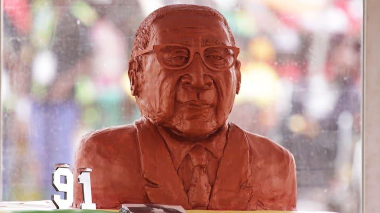 A birthday cake celebrating the 91st birthday of Zimbabwe's President Robert Mugabe.