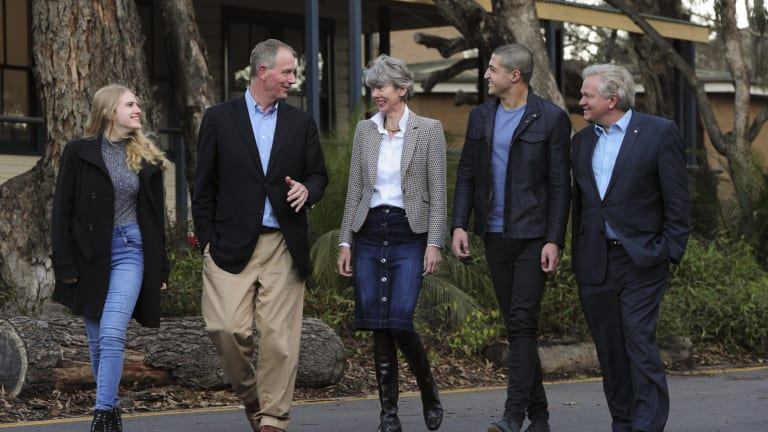 Philanthropists, Graham and Louise Tuckwell with Tuckwell Scholars Sarah Campbell (left) and Nishanth Pathy (second from right) and ANU vice-chancellor Brian Schmidt (far right)