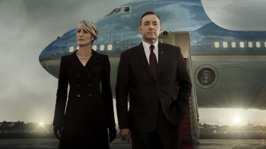 Robin Wright and Kevin Spacey in season 3 of Netflix's groundbreaking House of Cards.