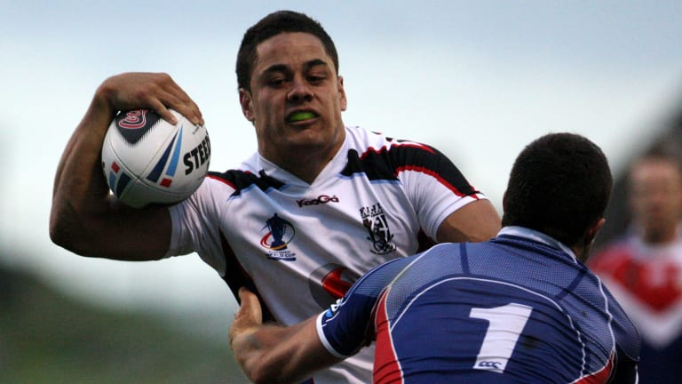 Unsettled: Jarryd Hayne, in action for Fiji at the World Cup, could be on his way back to Parramatta.