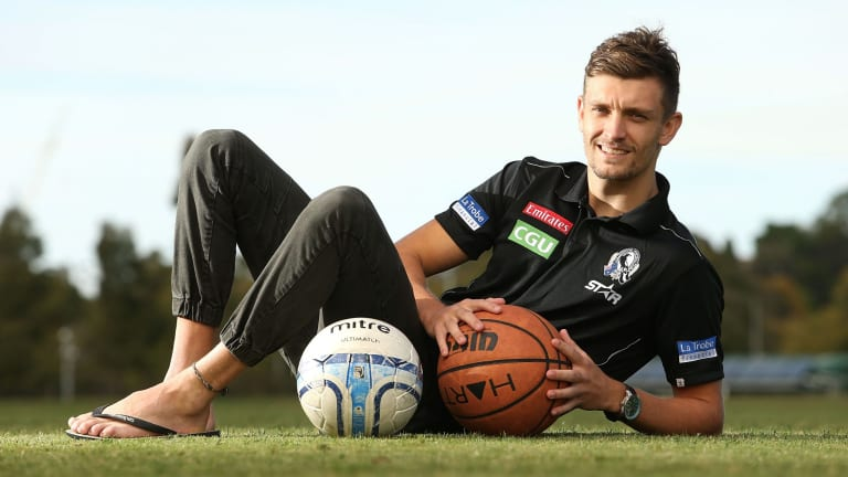 Finding his feet: Collingwood's Adam Oxley is making his mark.