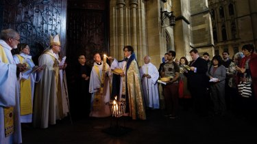 A candlelight Easter Sunday Service was held at St Paul's Cathedral in Melbourne.